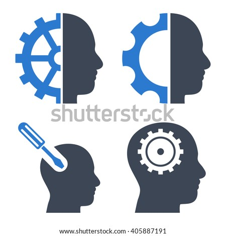 Brain Tools vector icons. Style is bicolor smooth blue flat symbols on a white background. - stock vector