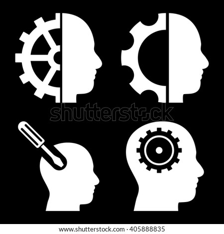 Brain Tools vector icons. Style is white flat symbols on a black background. - stock vector
