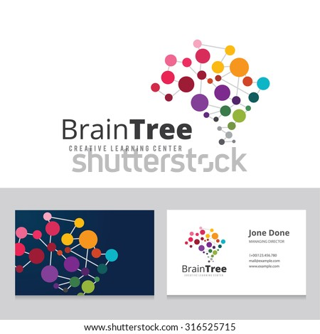 Brain Tree,brain logo,mine,creative,learning logo,education logo,school,kids,arts,Business card vector logo template - stock vector