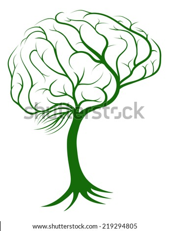 Brain tree concept of a tree with roots growing in the shape of a brain - stock vector