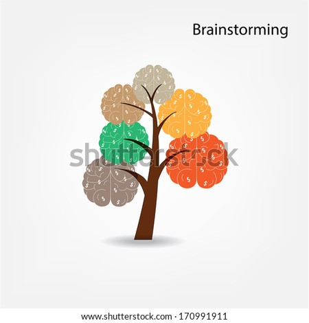 Brain tree illustration,brainstorm sign, tree of knowledge, medical, environmental or business concept - stock vector