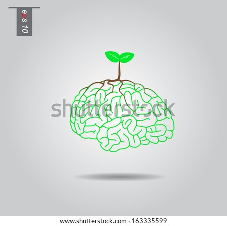 Brain  tree illustration, tree of knowledge vector icon - stock vector