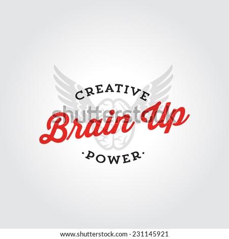 Brain up creative logo badge design concept, vector brain icon - stock vector