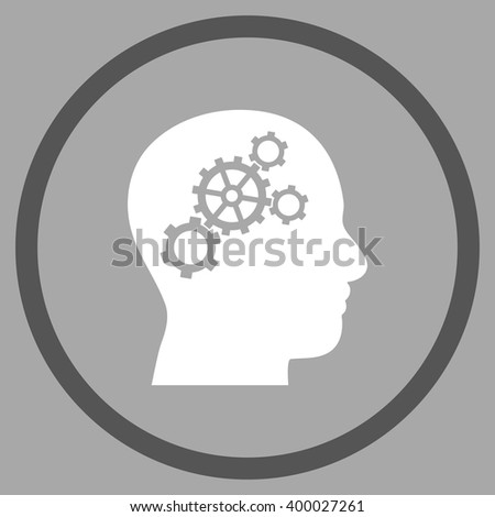 Brain Wheels vector bicolor icon. Picture style is flat brain gears rounded icon drawn with dark gray and white colors on a silver background.
