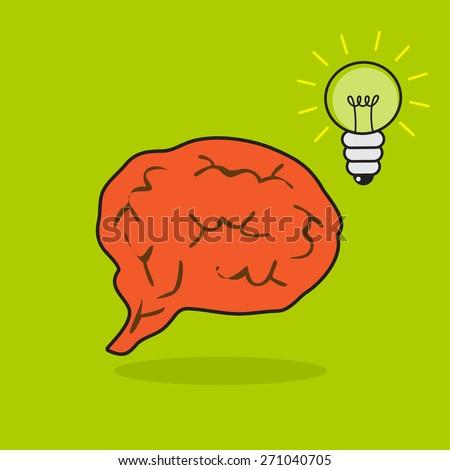 Brain with a lightbulb, vector - stock vector