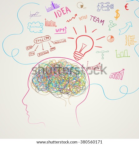 Brain with business icons. Vector illustration