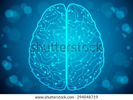 Brain with circuit board texture. Digital concept. Digitally background - stock vector