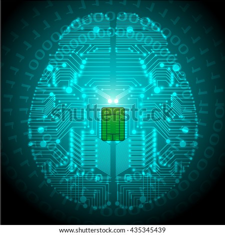 Brain with circuit board texture.vector - stock vector