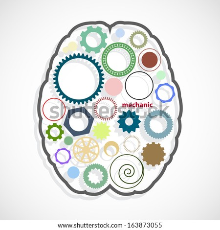 Brain with different gears inside. - stock vector
