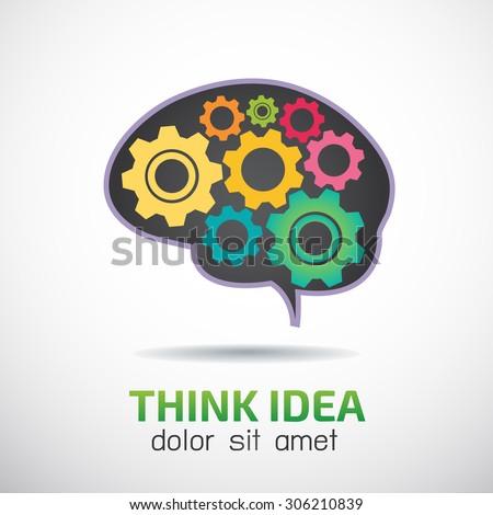 Brain with gear wheel vector logo design template,business idea or invention icon - stock vector