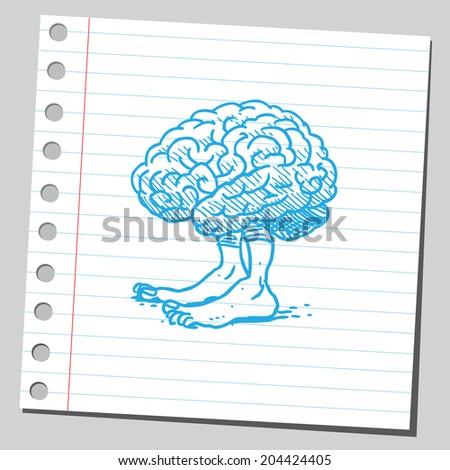 Brain with legs - stock vector