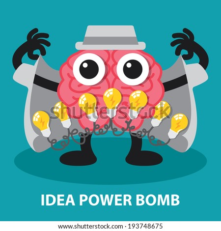 Brain with power idea bomb, creative idea concept. Vector illustration. Cartoon flat design - stock vector