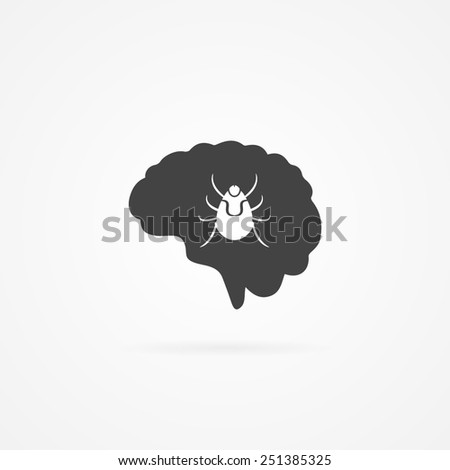 Brain with tick inside icon. Lyme disease. - stock vector