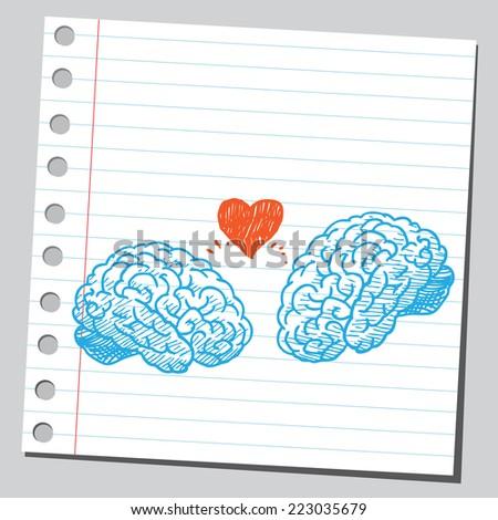 Brains in love - stock vector