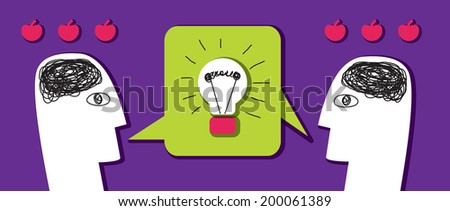 Brainstorm business idea Two business people is thinking. Color vector illustration. - stock vector