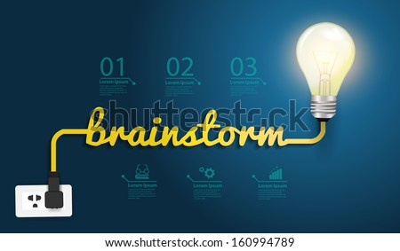 Brainstorm concept creative modern design template, Light bulb idea abstract infographic workflow layout, diagram, step up options, Vector illustration - stock vector