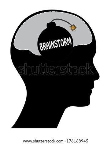 Brainstorm concept vector design with head and bomb. Raster available in my portfolio. - stock vector