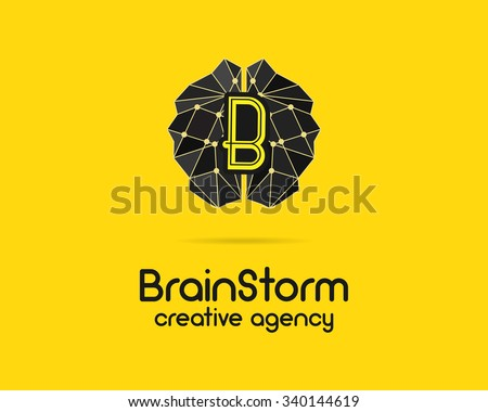 Brainstorm logotype, brain, creation idea logo template and elements. Solve problems, idea creation business company label. Creative agency brand identity. Brain icon concept. Vector illustration. - stock vector