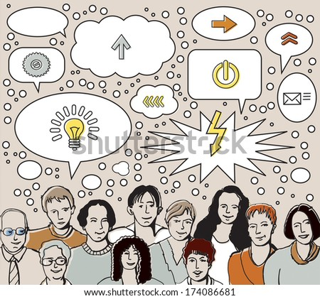 Brainstorm team: people and ideas bubbles Group of unrecognizable people in brainstorm: a lot of bubbles. Color vector illustration. - stock vector