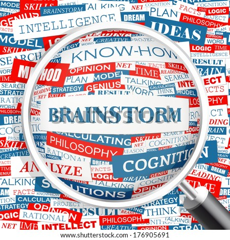 BRAINSTORM. Word cloud illustration. Tag cloud concept collage. Vector text illustration.  - stock vector
