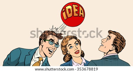 Brainstorming business team concept to develop the idea pop art retro style. Businessmen and a businesswoman playing with a ball with inscription idea.  - stock vector