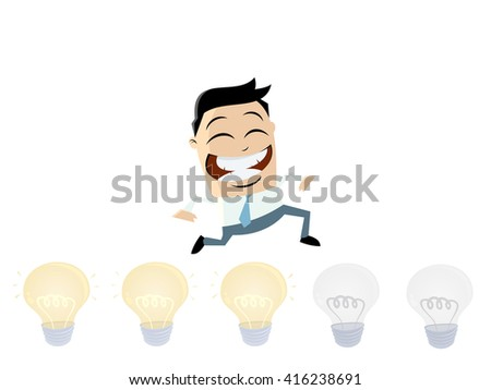brainstorming businessman turning lights on - stock vector