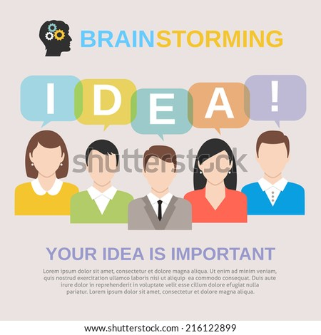 Brainstorming concept with people avatars sharing their ideas vector illustration - stock vector