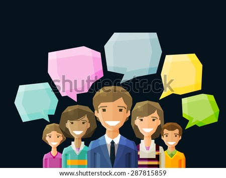 Brainstorming, conversation, talk, chat vector logo design template. people, folk or discussion, dialogue icon. flat illustration - stock vector