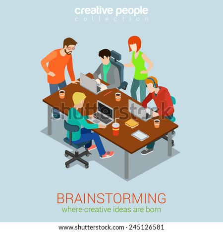 Brainstorming creative people flat 3d web isometric infographic concept vector. Advertising agency work process. Teamwork around table laptop, chief, art director, designer, programmer. - stock vector