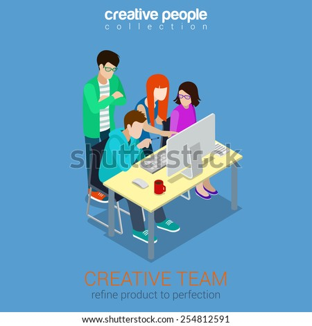 Brainstorming creative team people flat 3d web isometric infographic concept vector. Advertising agency work process. Teamwork around table laptop, chief, art director, designer, programmer. - stock vector