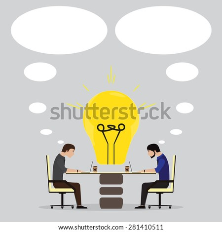 brainstorming in the office - stock vector