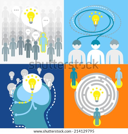 Brainstorming process to find an idea. Infographics and illustrations. Flat style - stock vector