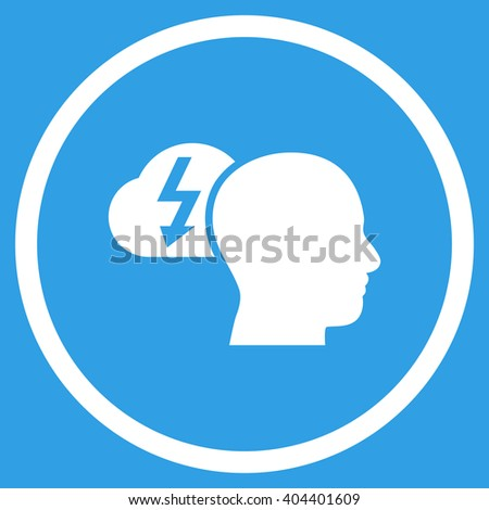Brainstorming vector icon. Image style is a flat icon symbol inside a circle, white color, blue background. - stock vector