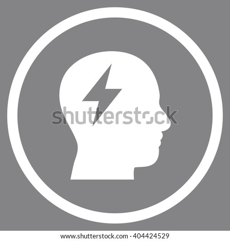 Brainstorming vector icon. Picture style is flat brainstorming rounded icon drawn with white color on a gray background. - stock vector
