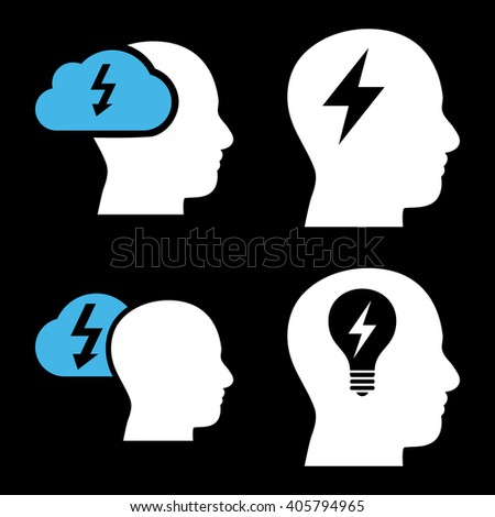 Brainstorming vector icons. Style is bicolor blue and white flat symbols on a black background. - stock vector