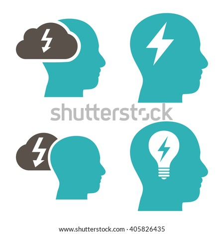 Brainstorming vector icons. Style is bicolor grey and cyan flat symbols on a white background. - stock vector