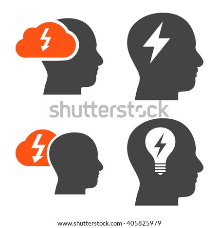 Brainstorming vector icons. Style is bicolor orange and gray flat symbols on a white background. - stock vector