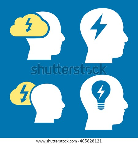 Brainstorming vector icons. Style is bicolor yellow and white flat symbols on a blue background. - stock vector