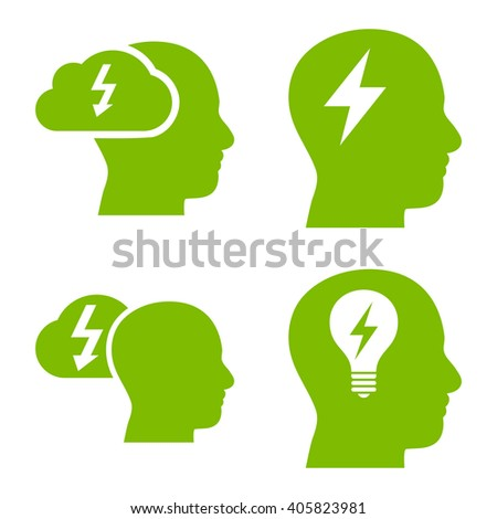 Brainstorming vector icons. Style is eco green flat symbols on a white background. - stock vector