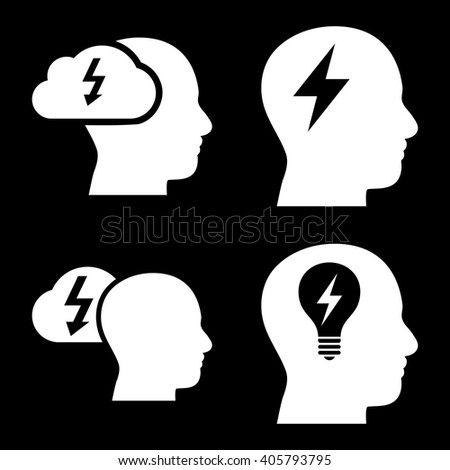 Brainstorming vector icons. Style is white flat symbols on a black background. - stock vector