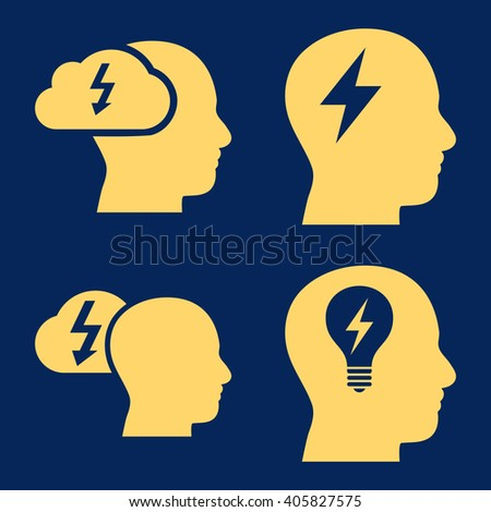 Brainstorming vector icons. Style is yellow flat symbols on a blue background. - stock vector