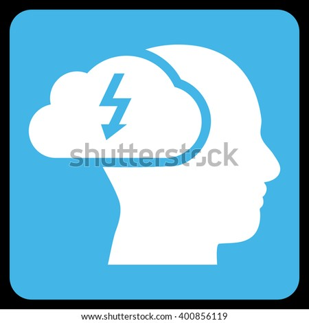 Brainstorming vector symbol. Image style is bicolor flat brainstorming icon symbol drawn on a rounded square with blue and white colors. - stock vector
