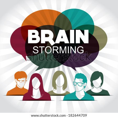 Brainstorming with group of people - stock vector
