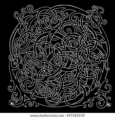 Brainteaser loop vector white labyrinth on black background - stock vector