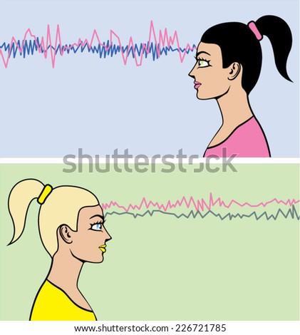 Brainwave woman - stock vector