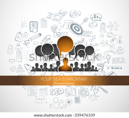 Braistorming concept with Doodle design style background: online solution, social media campain, creative ideas,Modern style illustration for web banners, brochure and flyers. - stock vector