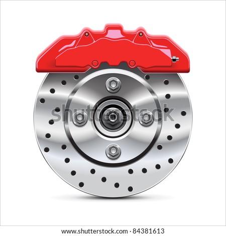 Brake  disc with caliper, vector - stock vector