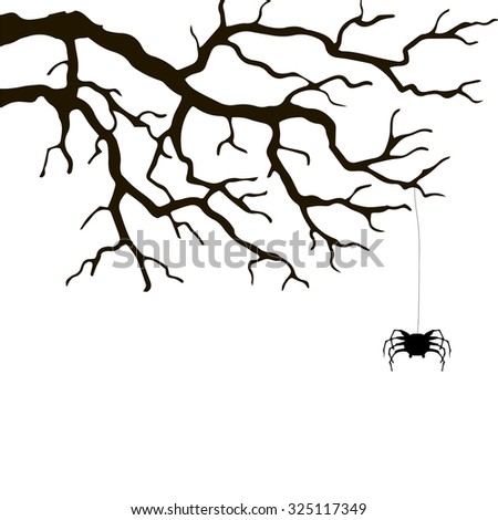 branch and spider, hand drawn monochrome silhouette vector illustration