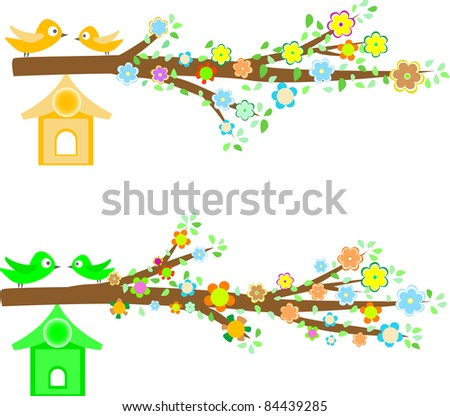 branch of a tree with flowers isolated on white background. vector - stock vector