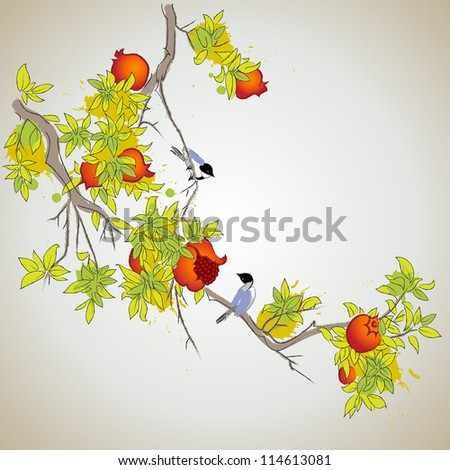 branch of pomegranate with little birds - stock vector